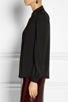 Diane von Furstenberg Lucia lace-trimmed stretch-silk top