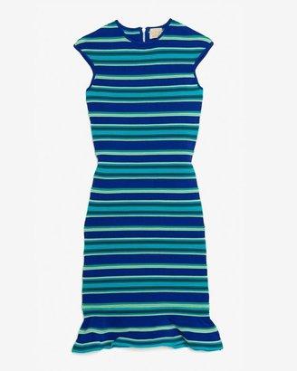 Torn By Ronny Kobo Stripe Ruffle Flare Hem Dress
