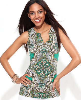 INC International Concepts Petite Top, Sleeveless Exotic-Print Tunic