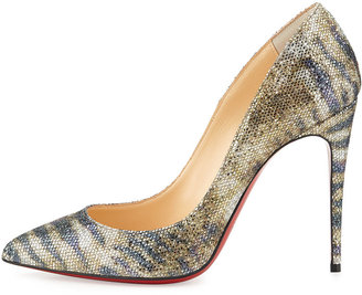 Christian Louboutin Pigalle Follies Glitter Red Sole Pump, Gold/Platine
