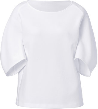 Jil Sander Structural Bishop Sleeve Top in White