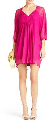 Fleurette Silk Chiffon Dress In Peony