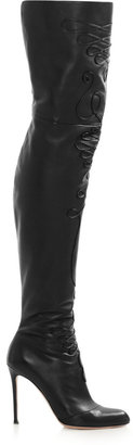 Altuzarra Embroidered leather thigh boots