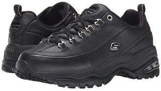Skechers Premiums (Black/Black Leather) Women's Lace up casual Shoes