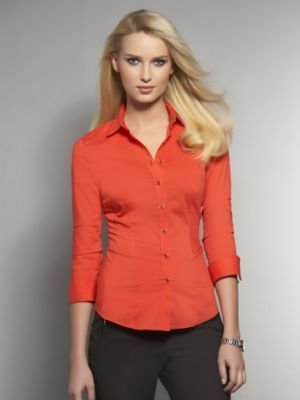New York & Co. Button Front Shirt with Shirred Sleeves