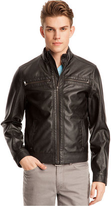 Kenneth Cole Reaction Coat, Perforated Pleather Zip Waister Jacket