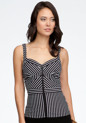 Bebe Zipper Front Stripe Block Cami