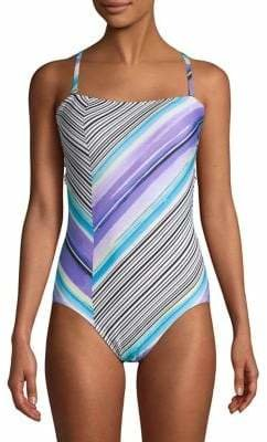 Calvin Klein Striped Bandeau One-Piece Swimsuit