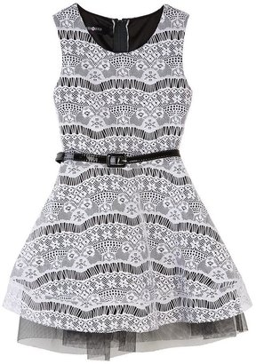 Amy Byer Iz belted lace dress - girls 4-6x