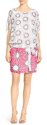 Diane von Furstenberg Robyn Two Silk Chiffon Dress In Sunshine Medium White / Pink