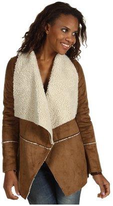MICHAEL Michael Kors Faux Suede Sporty Shearling Drape Neck Coat (Dark Camel) - Apparel