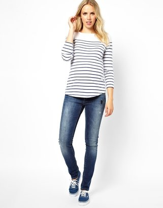 Elgin ASOS Maternity Skinny Distressed Jeans with Side Ruching