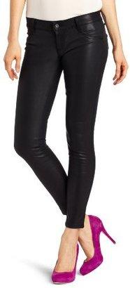 James Jeans Women's Stiletto Faux Leather Jean in Black Licorice