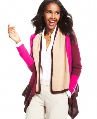 Charter Club Colorblocked Draped Cashmere Cardigan