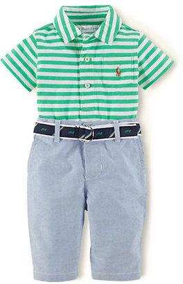 Ralph Lauren Newborn Boys 0-9 Months Striped Polo Shirt & Oxford Pants