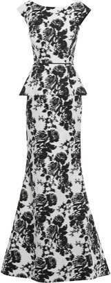 Oscar de la Renta Jacquard Fishtail Silk Gown