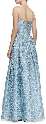 Alice + Olivia Kamila Swirly Strapless Gown