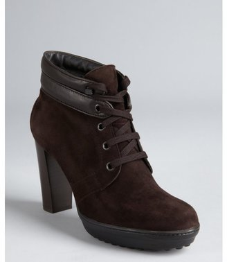 Tod's dark chocolate suede and leather lace-up platform ankle booties