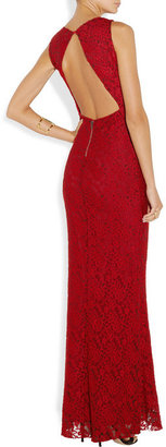 Alice + Olivia Open-back embroidered lace maxi dress