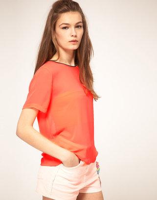 Asos Woven Sheer Neon T-Shirt