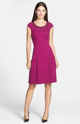 Adrianna Papell Embellished Neck Crinkled Fit & Flare Dress