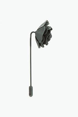 Lanvin Black Metal Flower Tie Pin