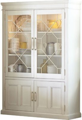 Birch Lane Lisbon Solid Rubberwood Lighted China Cabinet Heritage Color: Antique White