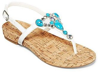 JCPenney Studio Paolo® Bling Embellished Flat Thong Cork Sandals
