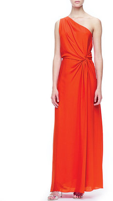 Halston One-Shoulder Side-Knot Gown