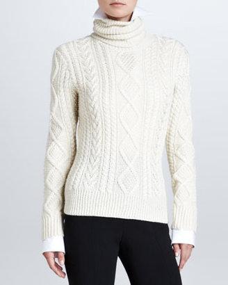 Ralph Lauren Long-Sleeve Cable-Knit Turtleneck, Cream