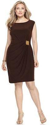 Tiana B Plus Size Dress, Cap Sleeve Embellished Waist