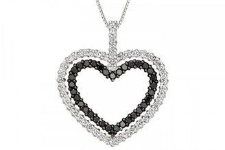 Ice.com 2 Carat Black & White Diamond Sterling Silver Heart Pendant w/ Chain