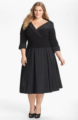 Eliza J Ruched Portrait Collar Jersey Dress (Plus Size) Black 16W