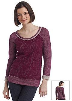 Fire Crochet Front French Terry Sweatshirt