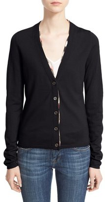 Women's Burberry Check Trim Wool Cardigan $375 thestylecure.com