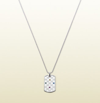 Gucci Necklace With Multicolor Stars Dog Tag