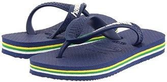 Havaianas Brazil Logo Flip Flops (Toddler/Little Kid/Big Kid) (Navy Blue) Kid's Shoes
