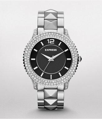 Express Pave And Stud Embellished Analog Bracelet Watch