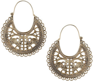 Miss Selfridge Filigree circle drop earrings