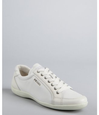 Prada Sport white leather lace up sneakers