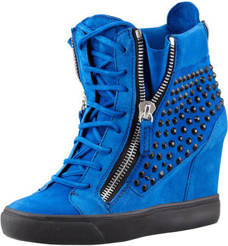 Giuseppe Zanotti Crystal-Studded Suede Wedge Sneaker, Blue