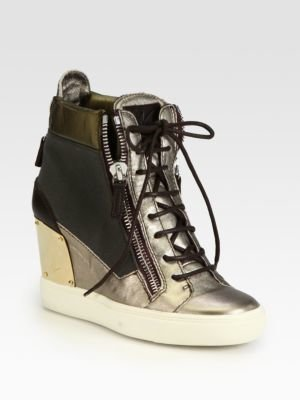 Giuseppe Zanotti Alba Canvas & Metallic Leather Wedge Sneakers