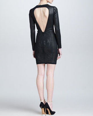Roberto Cavalli Embossed Leather Open-Back Dress, Black