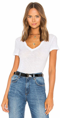 James Perse Casual V Neck Tee with Reverse Binding in White $65 thestylecure.com