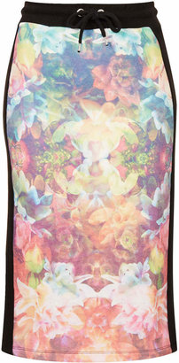 Topshop Escapology Orchid print midi skirt
