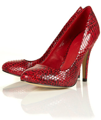 Topshop GLAM Snake Effect Court Shoes