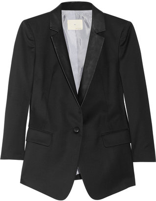 Band Of Outsiders Leather-trimmed wool-twill blazer