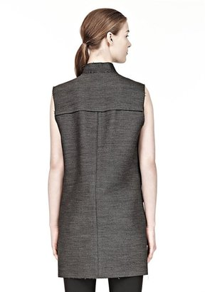 Alexander Wang Zippered Cutaway Vest With Leather Combo