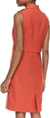Halston Sleeveless Tailored Dress, Dark Fire