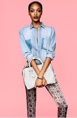 Topshop Moto 'Leigh' Flocked Floral Jeans (Blue Multi)